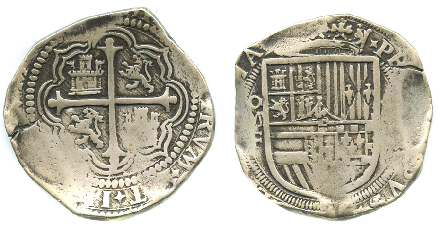 8 Reales OMF Phillip III Another Mexican Cob 8R Fake 248 Grams Metal Is Usually Silver And The Patina Looks Authentic