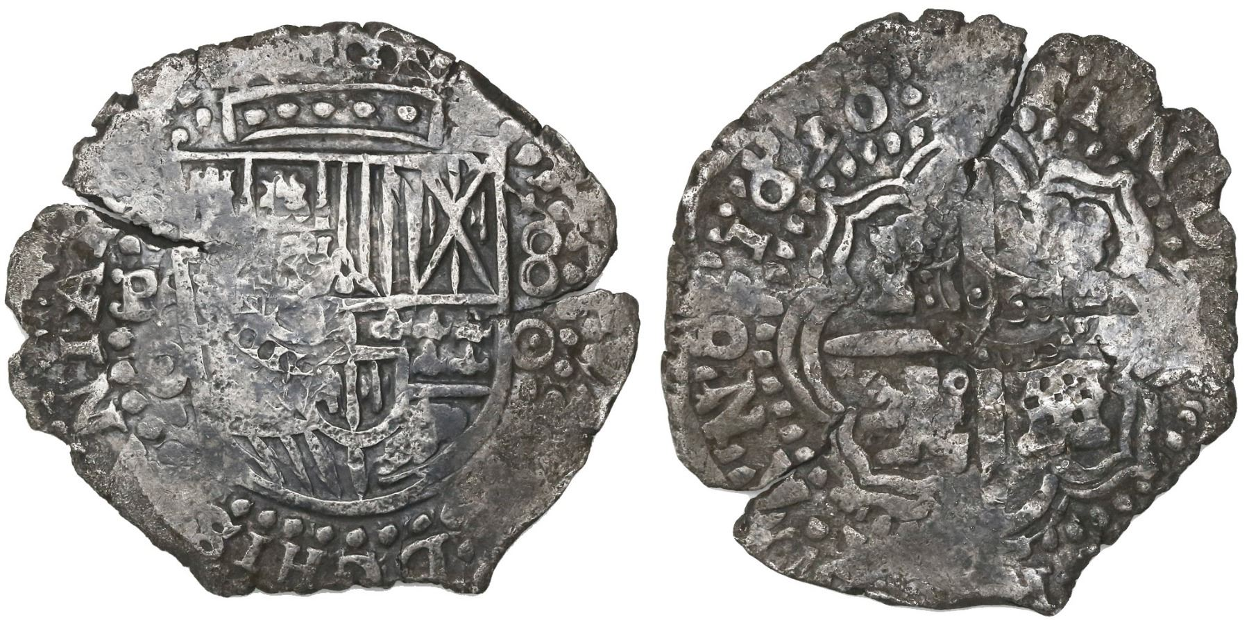 Potosi, Bolivia, cob 8 reales, (16)52E transitional Type IV/A. S-P37; KM-A20.4; CT-432. 22.12 grams. Bold full pillars (and crown above) with full F-8-IIII, PLV-SVL-TRA and E-8-E, full crowned shield with bold O-E-52 to right but with much corrosion on that side, deeply toned all over. Pedigreed to the Roberto Mastalir collection, #IV.1-A.ad1(11)4 in his book (page 94), with Herman Moro photo-certificate #pat-3200.