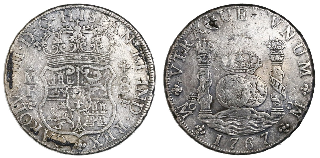 Mexico City Pillar 8 Reales Charles III 1767MF With Chopmarks