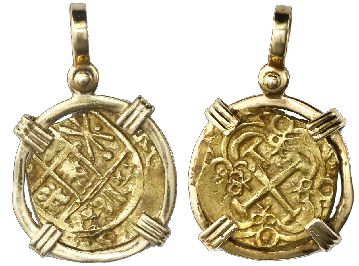 Coin Jewelry mounted in gold and silver  Spanish colonial, Shipwreck