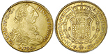 Potosi, Bolivia, gold bust 8 escudos, Charles IV transitional (bust of Charles III, ordinal IV/III), 1790/89PR.