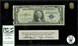 USA, $1 silver certificate, series 1935E, serial B17803645H, Priest-Humphrey, in lucite display, PCGS Currency Grade B.