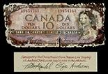 Ottawa, Canada, Bank of Canada, $10, serial A/D 9454163, Coyne-Towers,