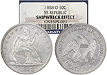 USA (New Orleans mint), half dollar seated Liberty, 1861-O, Louisiana issue, encapsulated NGC SS Republic Shipwreck Effect.