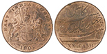 British East India Co., copper X cash, 1808.