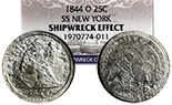 USA (New Orleans Mint), Seated Liberty quarter dollar, 1844-O, NGC Shipwreck Effect / SS New York.