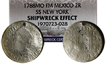 Mexico City, Mexico, bust 2 reales, Charles III, 1788FM, NGC Shipwreck Effect / SS New York.