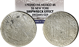 Mexico City, Mexico, bust 4 reales, Charles III, 1792FM, NGC Shipwreck Effect / SS New York.