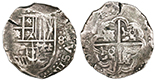 Potosi, Bolivia, cob 8 reales, Philip IV, assayer TR (late 1630s). S-P27; KM-19a. 27.09 grams. Bold full �P�TR�, full but off-center cross, most of shield, deeply toned Fine, smallish (thick) flan.