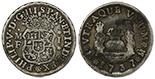 Mexico City, Mexico, pillar 1 real, Philip V, 1735MF.
