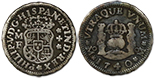 Mexico, pillar 1/2 real, Ferdinand VI, 1760M, encapsulated NGC AU 58.