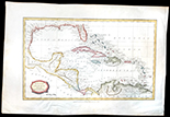 "French copperplate-engraved map of Paraguay by Nicolas Sanson (1657), reprint ca. 1705 from the first Dutch edition of Sanson's pocket atlas, hand colored. 9-11/16"" x 12-1/4"". Detailed map with a number of Paraguayan towns, mountains and rivers. Very fine condition with some minor handling, dealer's pencil annotation on reverse, good coloration."