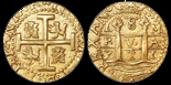 Lima, Peru, cob 8 escudos, 1711M, from the 1715 Fleet. S-L28; KM-38.2; CT-22. 26.95 grams. Choice strike, well centered, with bold full pillars-and-waves and cross-lions-castles on a 100% round flan, clearly UNC but with minor marks on edge as from being previously mounted. From the 1715 Fleet.