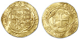 Seville, Spain, 1 escudo, Charles-Joanna, assayer * to right, mintmark S to left. Broad-flan AU- with full details (good cross), slight wrinkle.