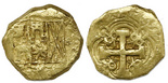 Bogota, Colombia, cob 2 escudos, (173)0S. Restrepo-M80.8; S-B25b; KM-17.2; CT-385. 6.72 grams. Small, thick flan with bold full cross, bottom of 0 of date clear, most of shield with full assayer to right, XF+ or better, possibly from the 1733 Fleet.