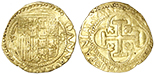 Seville, Spain, 1 escudo, Philip II, assayer Gothic D to right, mintmark S to left.