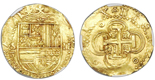 Seville, Spain, cob 2 escudos, Philip II, assayer Gothic D below mintmark S to left, NGC MS 64. CT-Type 46. 6.74 grams. Broad, round flan with well-detailed full shield and cross, nearly full crown, bold mintmark-assayer to left and denomination II to right, exceptional grade. NGC #4722639-005.