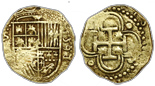 Seville, Spain, 2 escudos, 1591/0(H). Full, clear date and overdate and cross, nearly full shield, VF with toning in crevices, minor edge damage from mounting.