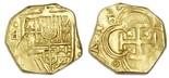 Seville, Spain, cob 2 escudos, Philip III, assayer (?) to left (looks like sideways Gothic D).