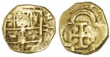 Seville, Spain, 1 escudo, Philip II, assayer Gothic D to right, mintmark S to left diameter 19mm, weight: 3.3 grams. XF with flat spots, full shield, full but off-center cross, small old scratch, nice color.