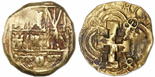 Bogota, Colombia, cob 2 escudos, Charles II posthumous (1700-15), no assayer (Arce), from the 1715 Fleet.