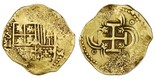 Seville, Spain, cob 2 escudos, 1595B. 6.7 grams. Broad flan with peripheral flatness but good full cross, full shield with bold S-II to left and weak but certain assayer B below, weak date to right, VF with contrasting sediment in crevices.