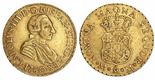 Mexico City, Mexico, bust 2 escudos, Charles III (young bust), 1760MM, very rare, ex-Huntington.