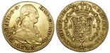 Madrid, Spain, bust 2 escudos, Charles IV, 1793MF. CT-328; KM-435.1. XF with sediment around details, light adjustment marks on reverse.