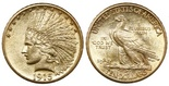 "USA (Philadelphia mint), $10 Indian head ""eagle,"" 1915. Lustrous AU with faint hairlines, slightly grainy surfaces."