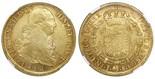 Santiago, Chile, bust 8 escudos, Ferdinand VII (bust of Charles IV), 1812FJ, NGC AU 55.