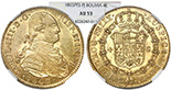 Potosi, Bolivia, bust 4 escudos, Charles IV, 1803PJ, rare, encapsulated NGC AU 53, finest and only specimen in NGC census.. CT-254; KM-80. Bold strike and lustrous, faintly toned, looks MS or at least AU 58 but with a couple tiny marks restricting its grade (also small natural flaws on cheek), still remarkable as the only specimen slabbed by NGC (finest specimen on record). NGC 4226247-011.