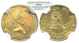 Potosi, Bolivia, 1/2 scudo, 1842LR, encapsulated NGC MS 64, WINGS approved (gold sticker), finest known in NGC census by several grades, ex-Lissner.