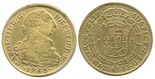 Bogota, Colombia, bust 8 escudos, Charles III, 1783JJ.
