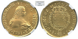 Santiago, Chile, bust 8 escudos, Ferdinand VI, 1751J, encapsulated NGC MS 61.