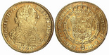 Bogota, Colombia, bust 8 escudos, Charles IV transitional (bust of Charles III, ordinal IV), 1790JJ, � before AUSPICE.