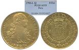 Lima, Peru, bust 8 escudos, Charles IV, 1793IJ, encapsulated PCGS AU 53.