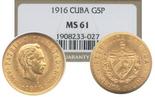 Cuba, 5 pesos, 1916, encapsulated NGC MS 61.