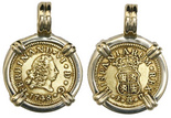 Madrid, Spain, bust 1/2 escudo, Ferdinand VI (first bust), 1748JB, mounted bust-side out in 18K necklace-bezel. CT-243; KM-372.  Bold XF+ with nicely contrasting sediment around details.