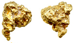 """Natural gold nugget from Australia, 0.150 troy oz. Rough nugget, about 1/4"""" to 3/8"""" in diameter, no matrix, just gold."""