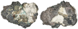"""Small, cut piece of a silver """"splash"""" ingot, 60 grams, with octagonal tax stamp for Mexico or Santo Domingo, ex-""""Power Plant wreck"""" (late 1500s). Approx. 2-1/2"""" x 2"""" x 1/8"""". A rounded edge-section, partially broken and partially cut from a flat """"splash,"""" with most of the tax stamp (somewhat obscured by natural flow-lines from the ingot) near the break, small rectangular hole (natural) near edge, nicely toned all over. From the """"Power Plant wreck"""" (late 1500s)."""