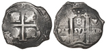 Potosi, Bolivia, cob 8 reales, 1678E. 16.41 grams. well centered with all the elements visible, darkly toned. With ROBCAR photo-certificate #2016339.