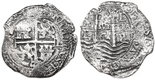 Potosi, Bolivia, cob 8 reales, 1664E. 17.96 grams. Bold date above deep waves, corrosion all over but sharp details with nice constricting toning. With ROBCAR photo-certificate #2016540.