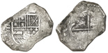 "Mexico City, Mexico, cob 8 reales, Philip IV, assayer P, with ""Silver Bank Treasures"" tag. S-M19; KM-45. Approx. 25 grams. Good cross and shield, nice toning all over."
