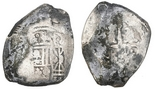 Mexico City, Mexico, cob 8 reales, Philip V, assayer J. 26.32 grams. Solid and uncorroded but with dark patches and some appended encrustation, much flatness, clear oMJ and unusually full crown.
