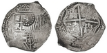 Potosi, Bolivia, cob 8 reales, (1651)E/O, with crown-alone countermark on shield. 22.03 grams. Bold (nearly full) countermark below well-detailed crown, full cross and nearly full shield despite some flatness, minor doubling, light surface corrosion, toned in crevices.