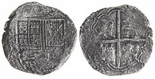 Bogota, Colombia, cob 8 reales, (16)32A, lions and castles transposed in shield and cross, rare, ex-Lasser.