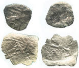 Pair of cob 1/2R (one Mexico, one Potosi), Charles II or Philip V.