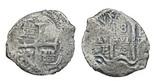 Potosi, Bolivia, cob 8 reales, 1678E. Bold pillars-and-waves, nearly full (doubled) cross, smallish flan from corrosion.
