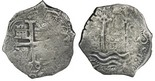 Encrusted clump of two Potosi, Bolivia, cob 1/2R (rare denomination), Philip IV and/or Charles II.