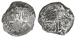 Potosi, Bolivia, cob 8 reales, 16(49?)Z, with crowned-(?) countermark on shield.